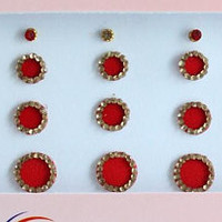 Red Plain Fancy Round Bindis,Round Bindis,Velvet Red Bindis,Red Round Face Jewels Bindis,Bollywood Bindis,Self Adhesive Stickers Pack