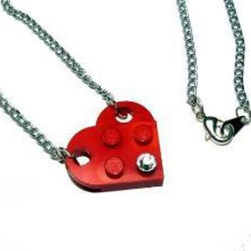 Heart made from Lego with Crystal on SilverTone~ by MoLStationery