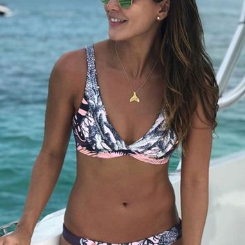 Sport Printed Bralette Bikini Swimsuit - Two Piece Set