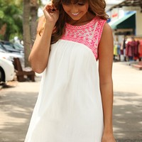 Rays Of Sunshine Dress: White/Neon Pink - Hope's Boutique