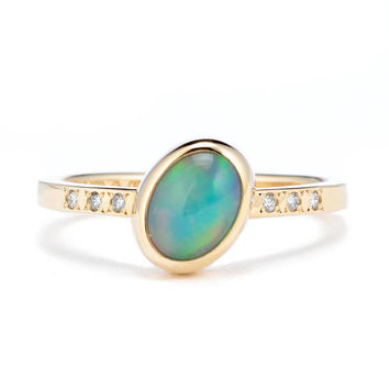 Welo Opal Diamond Ring, 14K Gold Opal Ring with Diamonds, Opal Engagement Ring, October Birthstone Ring