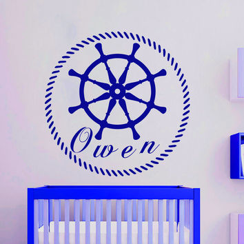 Wall Decals Personalized Name Vinyl Stickers Helm Boy Nautical Nursery Art LM115