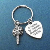 Cousins by chance friends by choice, Bouquet, Silver, Key ring, Lovely, Keychain, Birthday, Friends, Christmas, New year, Gift, Accessory