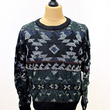 Vintage 80s Michael Gerald Aztec Blue Grey Indie Sweater Jumper S