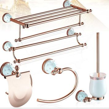 rose golden with diamond Bathroom accessories Bath Hardware Set Towel Shelf Towel Bar Paper Holder Cloth Hook JM411