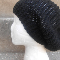 black hat,Hand knit hat - Chunky charcoal wool hat, slouchy hat