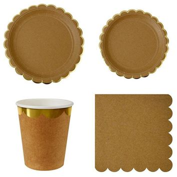 44pcs/lot Disposable Paper Dinner Tableware Set Birthday Plates Cups Napkins Cowhide Paper Party Decor Supplies