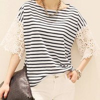 Stylish Scoop Neck 3/4 Sleeve Spliced Striped Loose-Fitting T-Shirt For Women