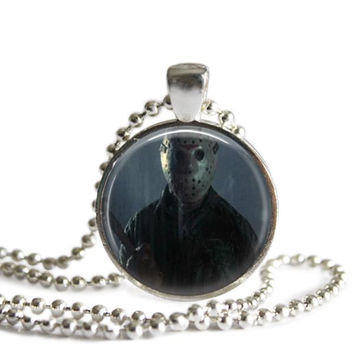 Friday the 13th Jason Voorhees Necklace Silver Plated Picture Pendant