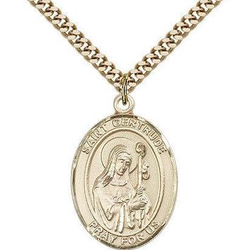"Saint Gertrude Of Nivelles Medal For Men - Gold Filled Necklace On 24"" Chain ... 617759082685"