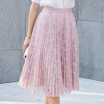 2017 new long pink lace skirts woman mid calf length fashion stylish solid high waisted pleated skirts grey black free shipping