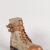 Bamboo Leatherette Two Tone Double Buckle Lace Up Combat Boot Color: Tan, Size: 7.5