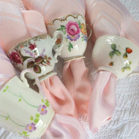 Set of 4 - Upcycled Vintage Demitasse Tea Cup Napkin Rings/Shabby Chic Decor/Cottage Style/Tea Party
