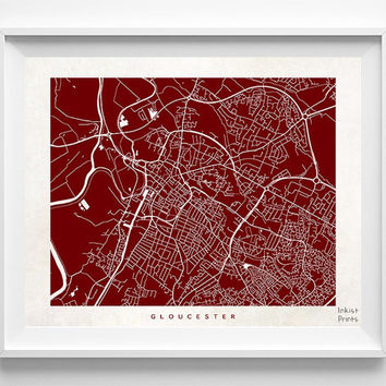 Gloucester Map, England Print, Gloucester Poster, England Art, Wedding Gift, Office Decor, Posters, Street Map, Home Decor, Halloween Decor