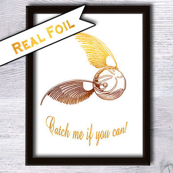 Golden snitch poster Harry Potter print Real gold foil decor Harry Potter poster Harry Potter real foil print Home decoration Gift art G6
