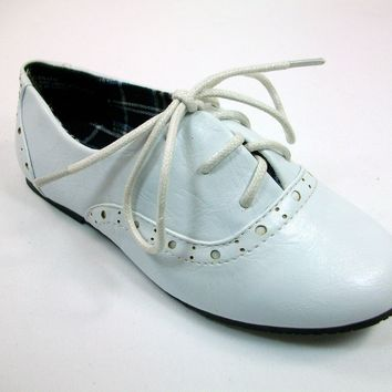 Girls Little Angel Lace Up Bluchers Shoes Belen-477 White
