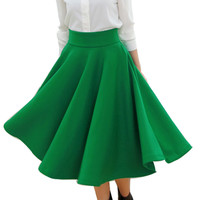2016 Spring New Women's Fashion Vintage Skirts High Waist Street Thick Lined Celebrity Flare Pleated Midi Swing Skirt for Female