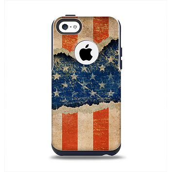 The Scratched Surface Peeled American Flag Apple iPhone 5c Otterbox Commuter Case Skin Set