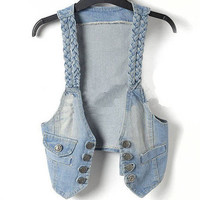 Braided-Trim Denim Vest [270]