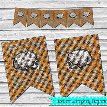 Halloween Creepy Skull Burlap Banner – DIY Printable Home Decor –  Black & Orange Party Decoration – Stamped Burlap Banner  INSTANT DOWNLOAD