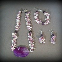 Hawaiian Style Purple Shell and Amethyst with Brazil Purple Agate N... | Tigereyedesigns - Jewelry on ArtFire