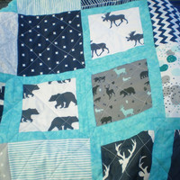 Crib quilt,baby quilt,modern,toddler bedding,rustic,woodland blanket,grey,navy,teal,aqua,deer,stag,bear,moose,baby boy quilt,Rustic Windows