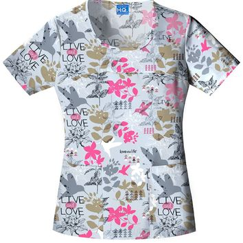 Cherokee Scrub HQ Love this Life Love This Hummingbird Round Neck Scrub Top