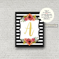 Initial, Initial Sign, Custom Initial, Nursery Print,Nursery Decor, Typography Poster, Initial Printable, Floral Print, Girl Nursery, Name