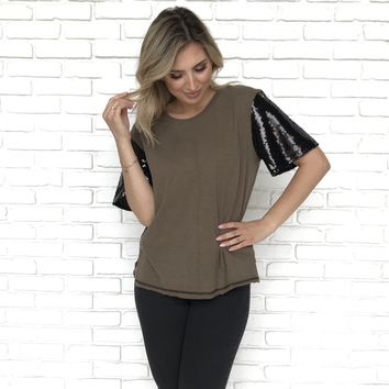 MJ Sequin Sleeve Olive Top