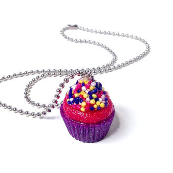 Cupcake pendant, cupcake jewelry, candy jewelry, cupcake necklace, food jewelry, kawaii necklace, sprinkles pendant, sweet lolita jewelry
