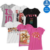 Walmart: One Direction Girls' Graphic Tee, 3 Pack Your Choice