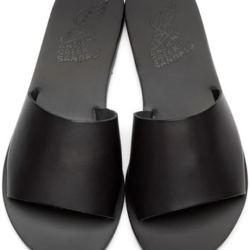 Black Leather Taygete Sandals