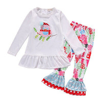 Christmas New 2016 fashion Kid Girls clothes  Kids Boys Girls Outfits Clothes owl T-shirt Tops+ Floral Pants 2PCS Set