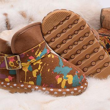 LFMON UGG Children's Shoes Kids Women Men Fashion Casual Wool Winter Snow Boots Camouflage Chestnut