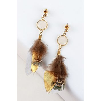 'Sequoyah' Gold Dipped Feather Earrings