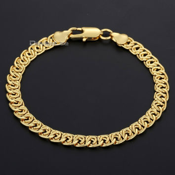 Davieslee Fshion 7MM Wide Womens Mens Chain Snail Link Yellow/White/Rose Gold Filled Bracelet DLGB293