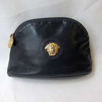 Vintage Versace designer dark navy blue leather purse make up bag