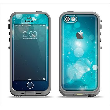 The Glowing Blue & Teal Translucent Circles Apple iPhone 5c LifeProof Fre Case Skin Set