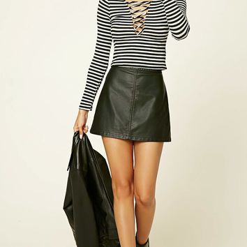 Lace-Up Stripe Crop Top
