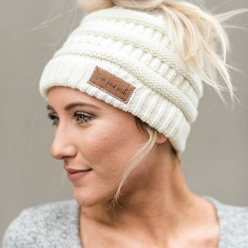 Messy Bun Knitted Beanie - Ivory