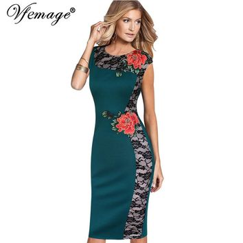 Vfemage Womens Elegant Vintage embroidered Lace Cap Sleeve Party Evening Special Occasion Bodycon Sheath Embroidery Dress 4289