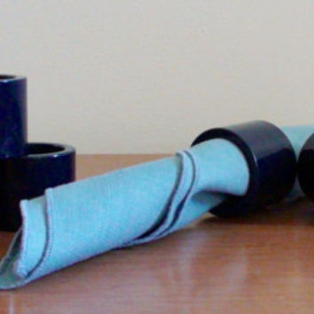 Vintage Navy Blue Vera Nuemann Napkin Rings -- Set of 6