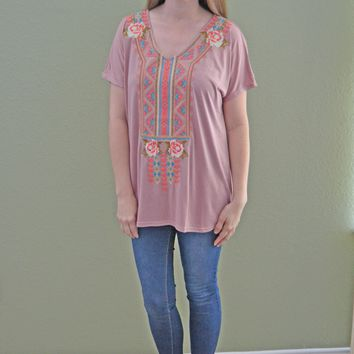 Way You Look Tonight Embroidered Top: Mauve