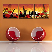 Unframed 3 Pieces World Famous Architecture Modern Home Wall Decor Canvas Art Picture Print Painting On Canvas Artworks