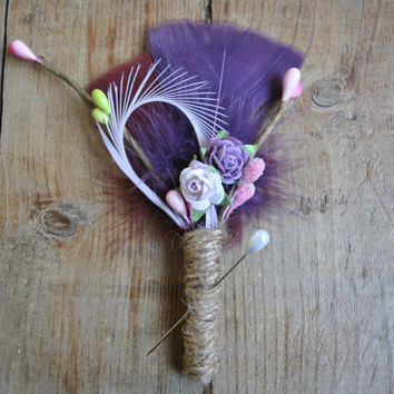 Rustic Boutonniere, Wedding Boutonniere, Purple Boutonniere, Feather Boutonniere, Grooms Boutonniere, Groomsmen Gift, Wedding Lapel Pin