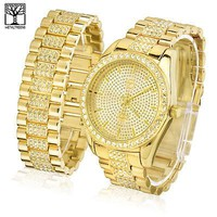 Jewelry Kay style Men's Totally Iced Out CZ Bling Heavy Metal Band Watch & Bracelet SET  WM 7794 G
