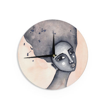 """Stacey-Ann Cole """"Yearning African American Art"""" Beige Black Wall Clock"""