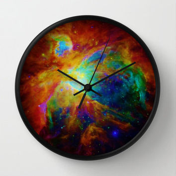 Galaxy Print Clock, Galaxy Clock, Brightly Colored, Wall Clock, Colorful Clock, Pretty Clock, Pink Clock, Blue Clock, Home Decor, Bedroom