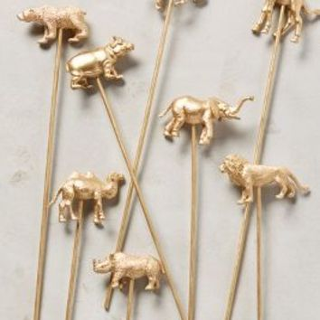 Party Animal Swizzle Sticks by Anthropologie in Gold Size: One Size Gifts