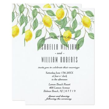 Modern Boho Lemon Summer Wedding Invitation